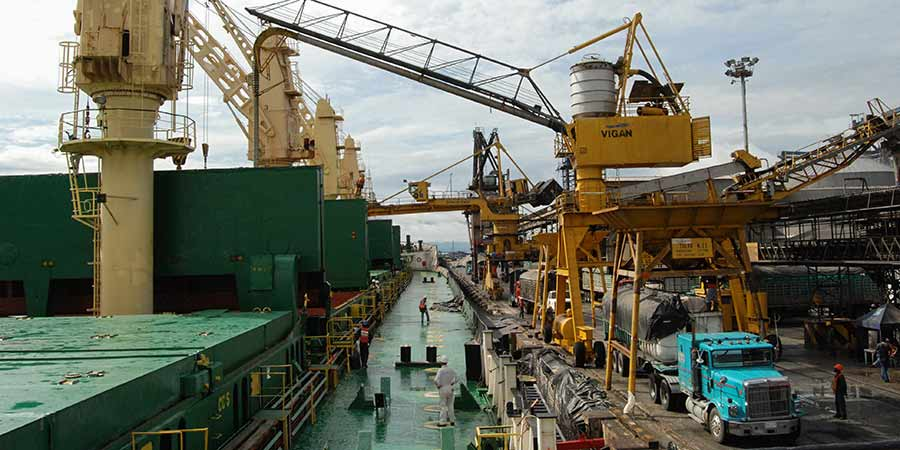 Grúas en un puerto marítimo descargando carga a granel de un buque